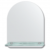 Зеркало настенное с полочкой (40х50 см). Форма арки, шлифованная кромка.