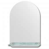 Зеркало настенное с полочкой (40х60 см). Форма арки, шлифованная кромка.