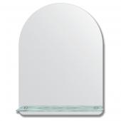 Зеркало настенное с полочкой (60х80 см). Форма арки, шлифованная кромка.