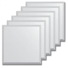Зеркальная плитка с фацетом 10 мм (серебро) (квадрат 25х25 см) - комплект 6 шт.