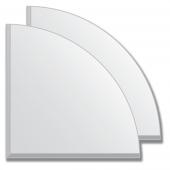 Зеркальная плитка с фацетом 5 мм (серебро) (четверть круга 15х15 см) - комплект 2 шт.