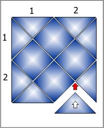 Укладка плитки в панно 2х2 ряда.