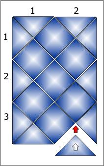 Укладка плитки в панно 2х3 ряда.