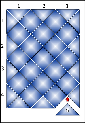 Укладка плитки в панно 3х4 ряда.