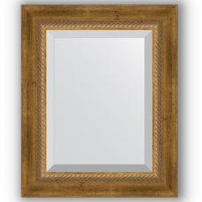 Зеркало настенное 43х53 см в багетной раме - состаренная бронза с плетением 70 мм.