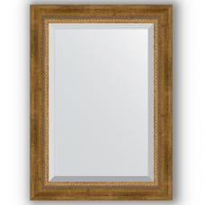 Зеркало настенное 53х73 см в багетной раме - состаренная бронза с плетением 70 мм.