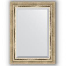 Зеркало настенное 53х73 см в багетной раме - состаренное серебро с плетением 70 мм.