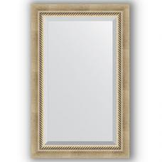 Зеркало настенное 53х83 см в багетной раме - состаренное серебро с плетением 70 мм.