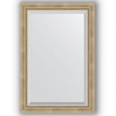Зеркало настенное 63х93 см в багетной раме - состаренное серебро с плетением 70 мм.