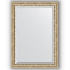Зеркало настенное 73х103 см в багетной раме - состаренное серебро с плетением 70 мм.