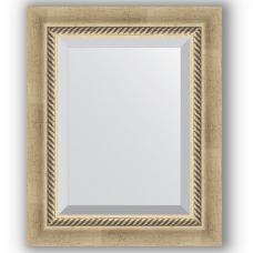 Зеркало настенное 43х53 см в багетной раме - состаренное серебро с плетением 70 мм.