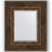 Зеркало настенное 52х62 см в багетной раме - состаренное дерево с орнаментом 120 мм.