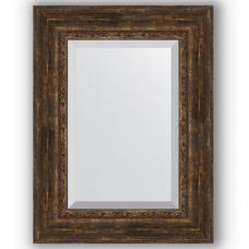Зеркало настенное 62х82 см в багетной раме - состаренное дерево с орнаментом 120 мм.