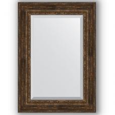 Зеркало настенное 72х102 см в багетной раме - состаренное дерево с орнаментом 120 мм.