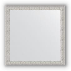 Зеркало настенное 61х61 см в багетной раме - волна алюминий 46 мм.