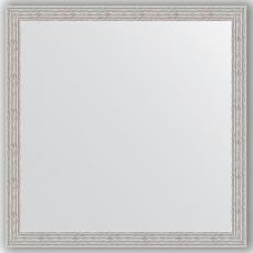 Зеркало настенное 71х71 см в багетной раме - волна алюминий 46 мм.