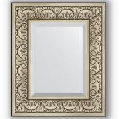 Зеркало настенное 50х60 см в багетной раме - барокко серебро 106 мм.