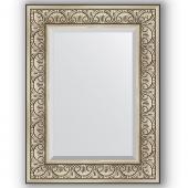 Зеркало настенное 60х80 см в багетной раме - барокко серебро 106 мм.