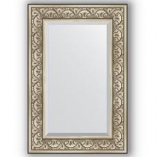 Зеркало настенное 60х90 см в багетной раме - барокко серебро 106 мм.