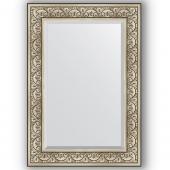 Зеркало настенное 70х100 см в багетной раме - барокко серебро 106 мм.