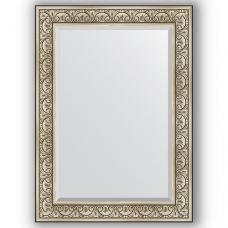 Зеркало настенное 80х110 см в багетной раме - барокко серебро 106 мм.