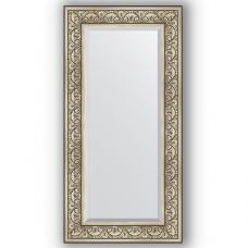 Зеркало настенное 60х120 см в багетной раме - барокко серебро 106 мм.