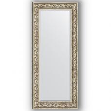Зеркало настенное 65х150 см в багетной раме - барокко серебро 106 мм.