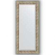 Зеркало настенное 70х160 см в багетной раме - барокко серебро 106 мм.