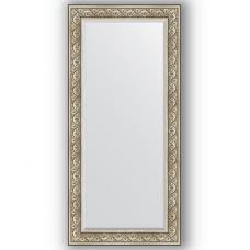 Зеркало настенное 80х170 см в багетной раме - барокко серебро 106 мм.