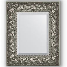 Зеркало настенное 49х59 см в багетной раме - византия серебро 99 мм.