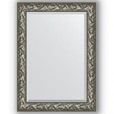 Зеркало настенное 79х109 см в багетной раме - византия серебро 99 мм.