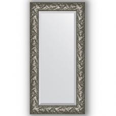 Зеркало настенное 59х119 см в багетной раме - византия серебро 99 мм.