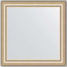 Зеркало настенное 65х65 см в багетной раме - золотые бусы на серебре 60 мм.