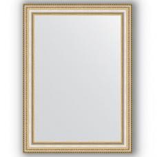 Зеркало настенное 55х75 см в багетной раме - золотые бусы на серебре 60 мм.