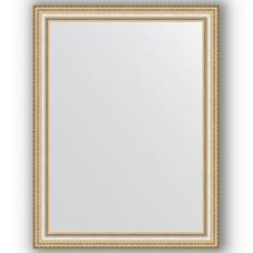 Зеркало настенное 65х85 см в багетной раме - золотые бусы на серебре 60 мм.