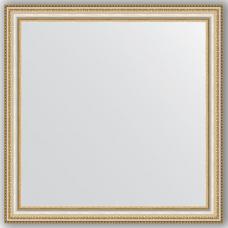 Зеркало настенное 75х75 см в багетной раме - золотые бусы на серебре 60 мм.