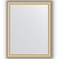 Зеркало настенное 75х95 см в багетной раме - золотые бусы на серебре 60 мм.
