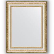 Зеркало настенное 41х51 см в багетной раме - золотые бусы на серебре 60 мм.