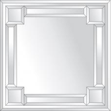 Зеркало с зеркальным обрамлением (серебро) 60х60 см. Серия V-2.