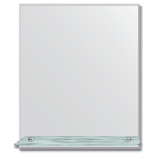 Зеркало настенное с полочкой (50х60 см). Прямоугольное, с фацетом 5 мм.
