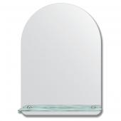 Зеркало настенное с полочкой (50х70 см). Форма арки, шлифованная кромка.