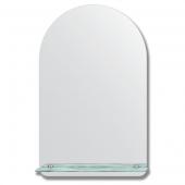 Зеркало настенное с полочкой (50х80 см). Форма арки, шлифованная кромка.