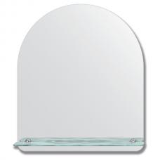 Зеркало настенное с полочкой (60х70 см). Форма арки, шлифованная кромка.