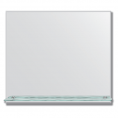 Зеркало настенное с полочкой (80х60 см). Прямоугольное, с фацетом 5 мм.