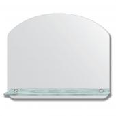 Зеркало настенное с полочкой (60х50 см). Форма арки, шлифованная кромка.