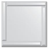 Зеркало с зеркальным обрамлением (серебро) 50х50 см. Серия V-1.