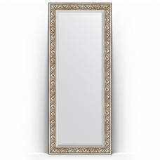 Зеркало напольное 85х205 см в багетной раме - барокко серебро 106 мм.