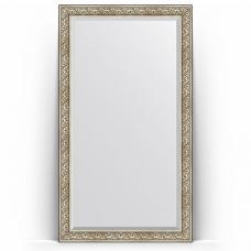 Зеркало напольное 115х205 см в багетной раме - барокко серебро 106 мм.