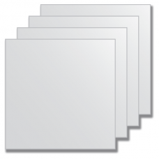 Зеркальная плитка без фацета (серебро) (квадрат 25х25 см) - комплект 4 шт.