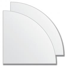 Зеркальная плитка без фацета (серебро) (четверть круга 15х15 см) - комплект 2 шт.